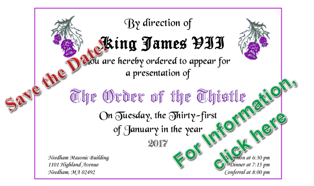 The Order of the Thistle is coming back to Massachusetts this January! By  now it may have attracted your curiosity, and you may be wondering what the  Order ...
